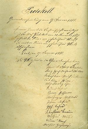 Nach der Gründung im Jahr 1887 fand im Januar 1888 die erste Generalversammlung der jungen Lauber Genossenschaft statt.